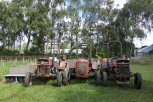 Tractors used to pick apples